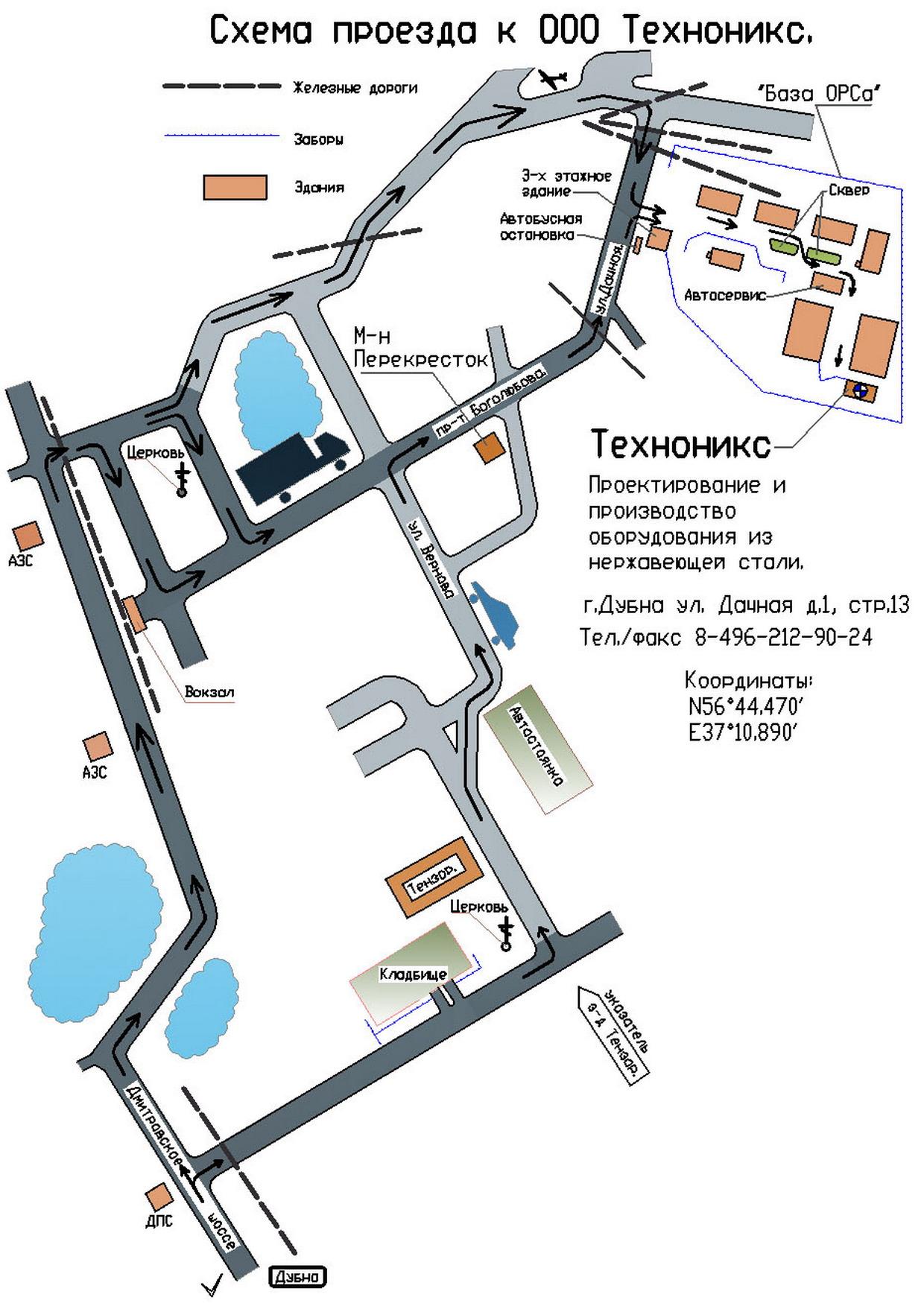 схема проезда ТЕХНОНИКС